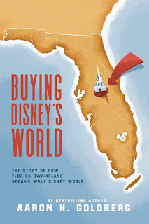 Book cover for Buying Disney's World showing the state of Florida with a castle at the location of Walt Disney World.