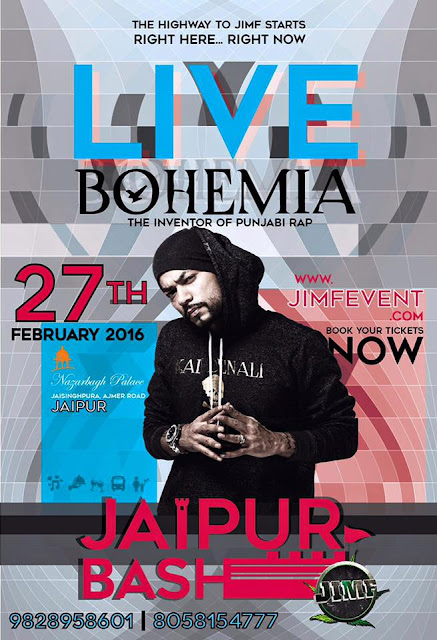 BOHEMIA Live at JIMF Jaipur Bash on 27th in Nazarbagh Palace - team bohemia