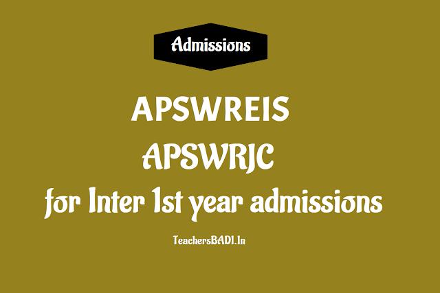 APSWREIS Inter 1st year Admission 2019,apswrjc inter 1st year admissions,apswreis junior inter admissions,apswreis inter admissions