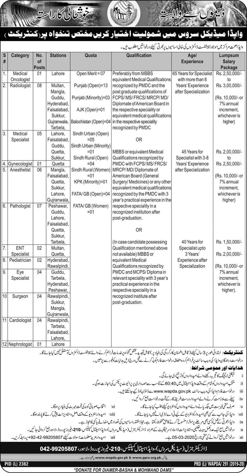 WAPDA Medical Services Jobs 2020 on Contract Base