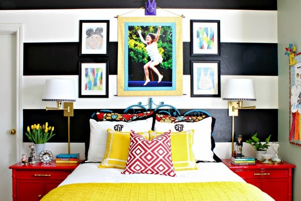 Black and White Striped Wall, Crane and Canopy Linden Duvet Cover, Glossy Red Bamboo Nightstands