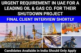 Job Vacancy For Degree/Diploma/ITI  Gulf Shutdown Experience Candidates For  Abu Dhabi, UAE