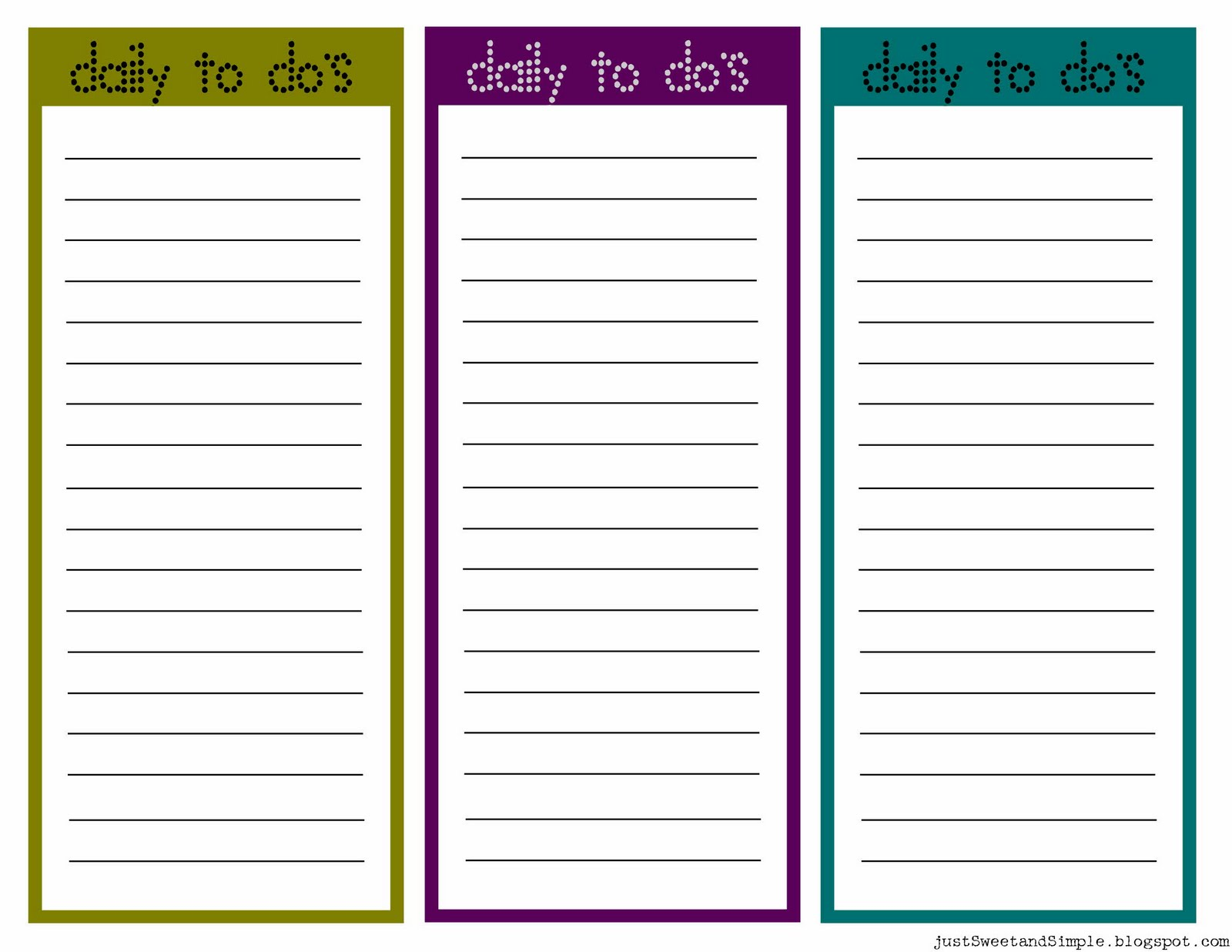 Just Sweet And Simple Printable Little Daily To Do List S