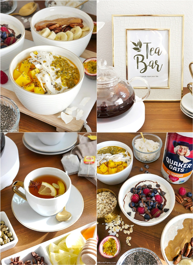 How to Style a Winter Breakfast Bar for Entertaining + Easy Overnight Oats Recipes - easy DIY ideas to dress a pretty winter table for brunch! by BirdsParty.com @birdsparty #overnightoats #oatmeal #recipe #brunchrecipe #breakfastrecipe #healthybreakfast #overnightoatsrecipe #healthybrunch #healthybreakfast #teabar #teaparty #teastation #breakfastbar #breakfaststation #oatmealbar