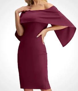 off-shoulder batwing cape slim midi dress