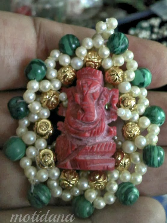 coral Ganesha , gold pendant with coral , hand carved coral