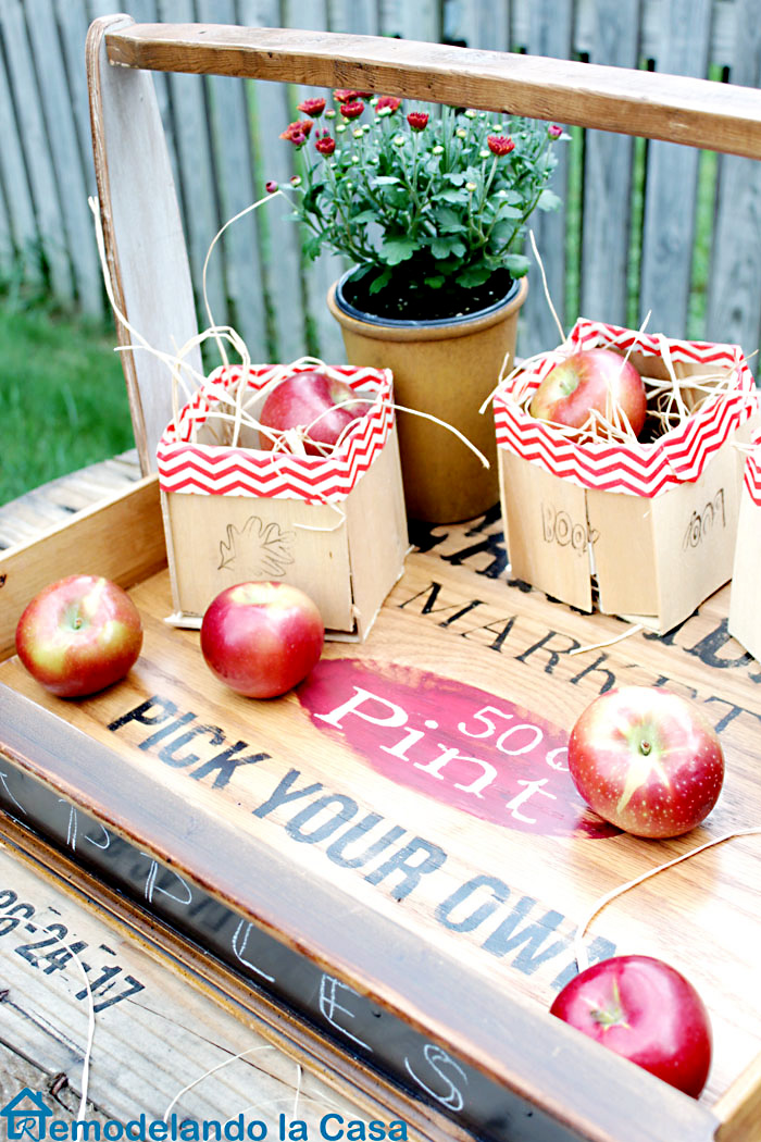 wooden drawer basket full of apples
