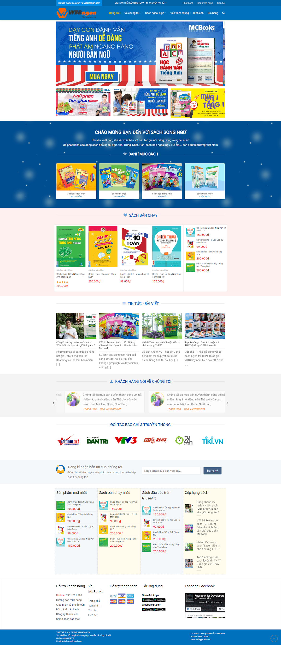 Mẫu web bán sách, ebook wn045