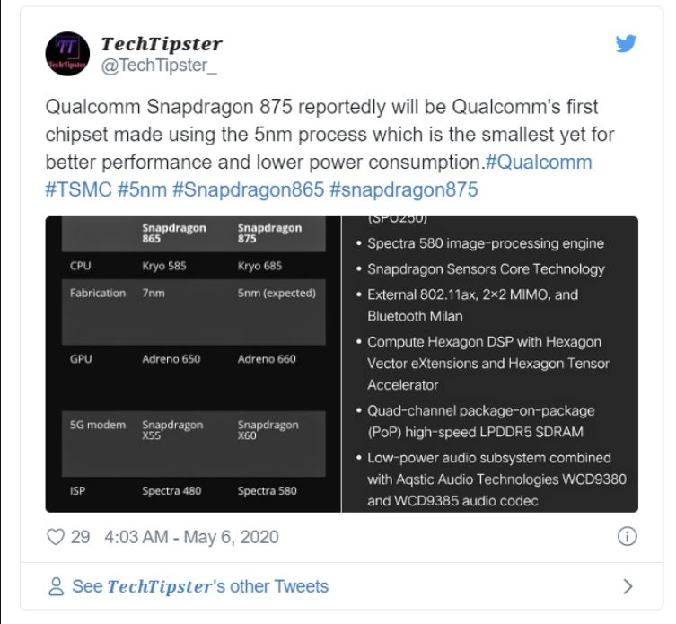 Leaked: Qualcomm Snapdragon 875 integrates 5G baseband for the first time