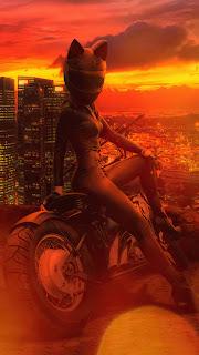Girl Cat Helmet Mobile HD Wallpaper