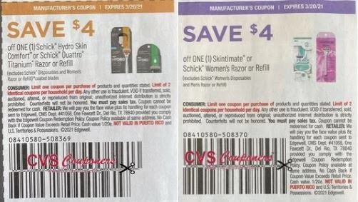 schick 4 off coupons