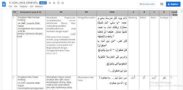 Latihan Soal & Kunci Jawaban Ujian Madrasah (UM) Bahasa Arab MTs