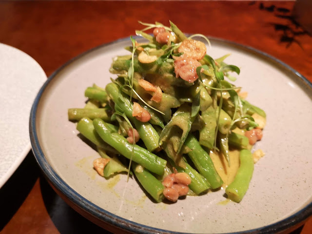 French Beans & Winged Beans Hot Salad with 'Bumbu' Sauce and Natto