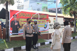 Kapolres AKBP Kadarislam Pimpin Upacara Korps Raport Kenaikan Pangkat TMT 1 Oktober 2021