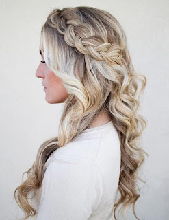 side braided half up half down hairstyle