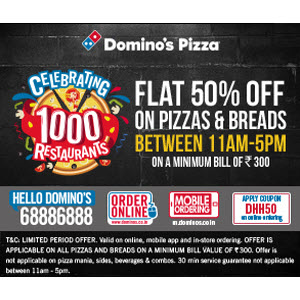 Dominos Pizza Offer 50% off on Rs. 300 + 15% Cashback