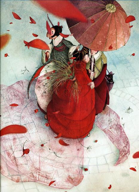 ilustración romántica del interior del cuento de Philippe Lechermeier Princesas Olvidadas o desconocidas ilustrado por Rébecca Dautremer
