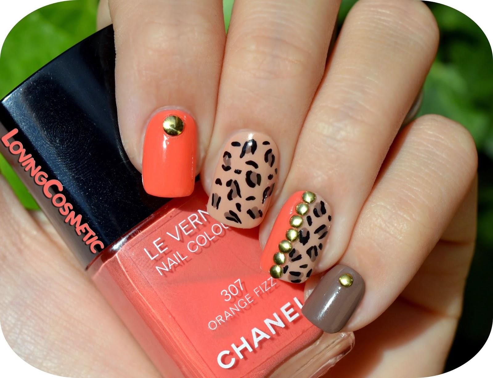 nail art nail diseño uñas mano alzada animal print chanel orange fizz 307 chanel 219 gosh tachuelas rhinestones bornprettystore lovingcosmetic loving cosmetic uña uñas cute design