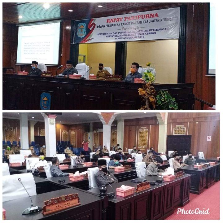 Rapat Paripurna Penyampaikan Pendapat Akhir Fraksi Dewan Dihadiri Wabup Kerinci