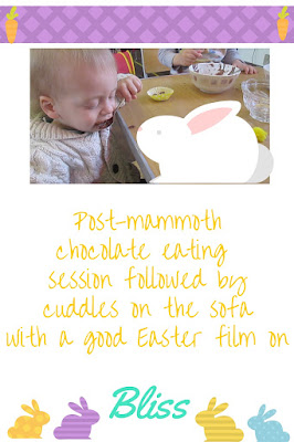 enjoying chocolate from Easter inspired kid's crafts