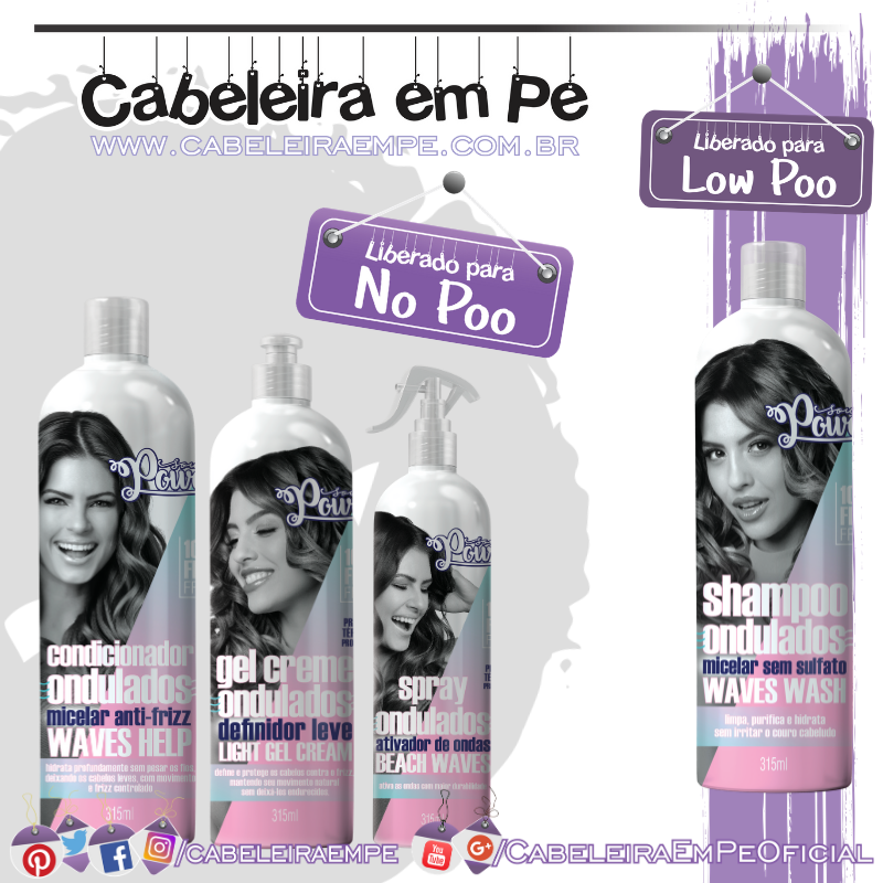 Shampoo (Low Poo) Condicionador, Spray e Gel-creme (No Poo) - Soul Power