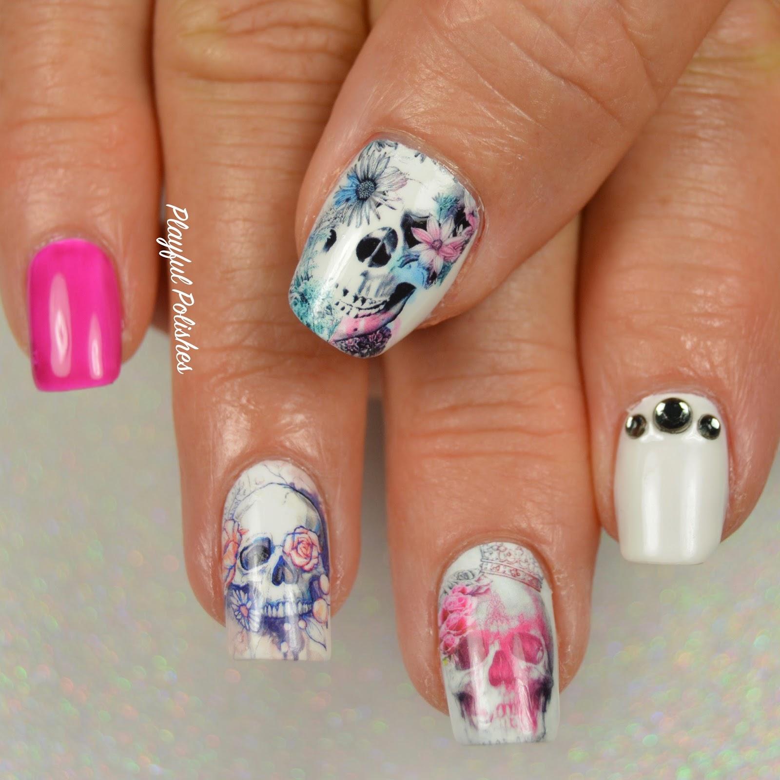 Playful Polishes Floral Skull Nail Artbig Beauty Bang Water Decals