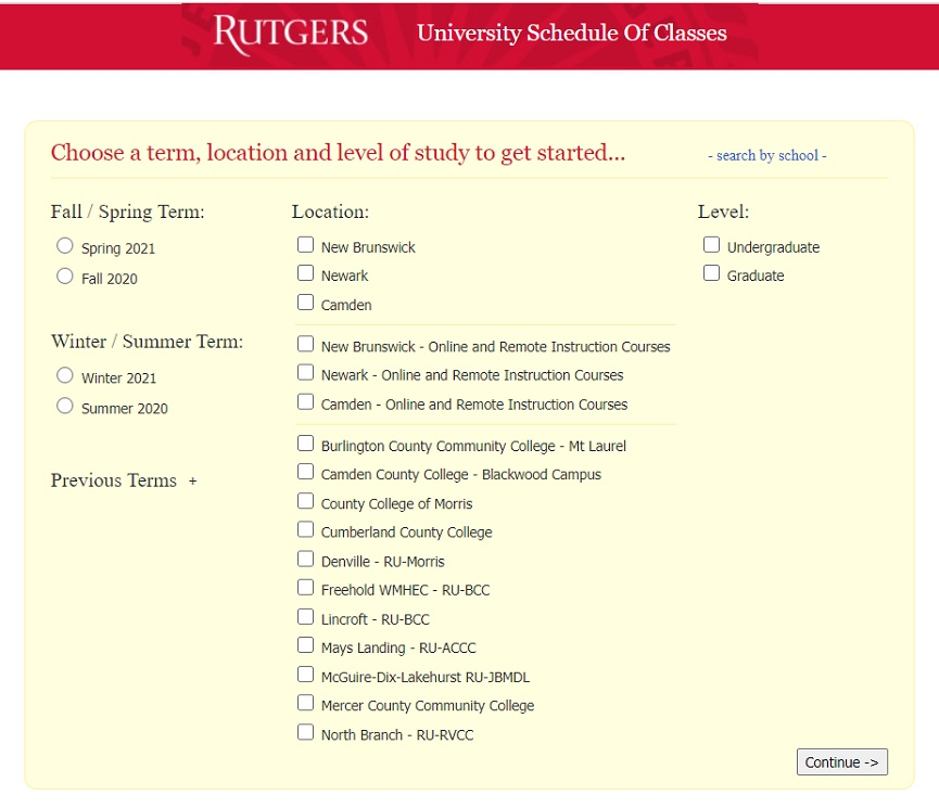 Rutgers Schedule of Classes