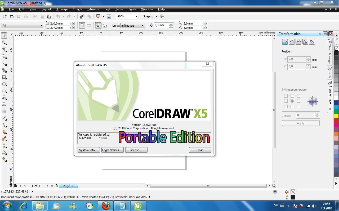 Free Download CorelDraw Portable X5