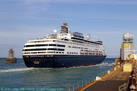 Holland America Line. From Copenhagen (Denmark), going to Amsterdam (Netherlands). Call sign PFRO, IMO 8919257. Southern Breakwater, Western Docks. Also: Western Entrance, Dover Breakwater West End Light, Admiralty Pier Lighthouse. Kent, England.