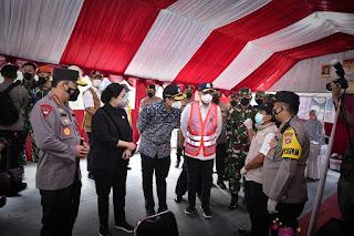 Romobongan Panglima TNI dan Kapolri Meninjau Posko Penyekatan Pelabuhan Merak-Bakauheni