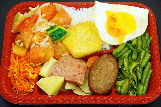 bento,carrort,rice,cucumber,potatoes,green beans, pork,vegetables