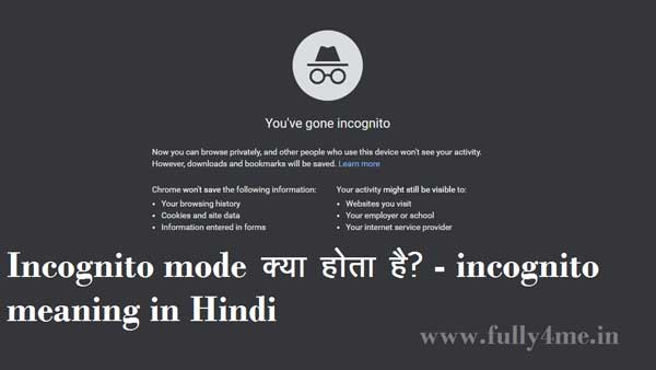 Incognito mode kya hota hai - incognito meaning in Hindi