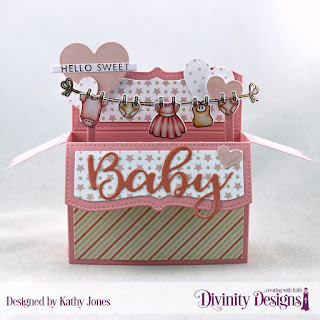 Divinity Designs Stamp/Die Duos - Baby Clothesline, Stamp Set: Bless this Baby, Paper Collection: Little Girl, Custom Dies: Surprise Box Wide, Layering Hearts, Sentiment Strips