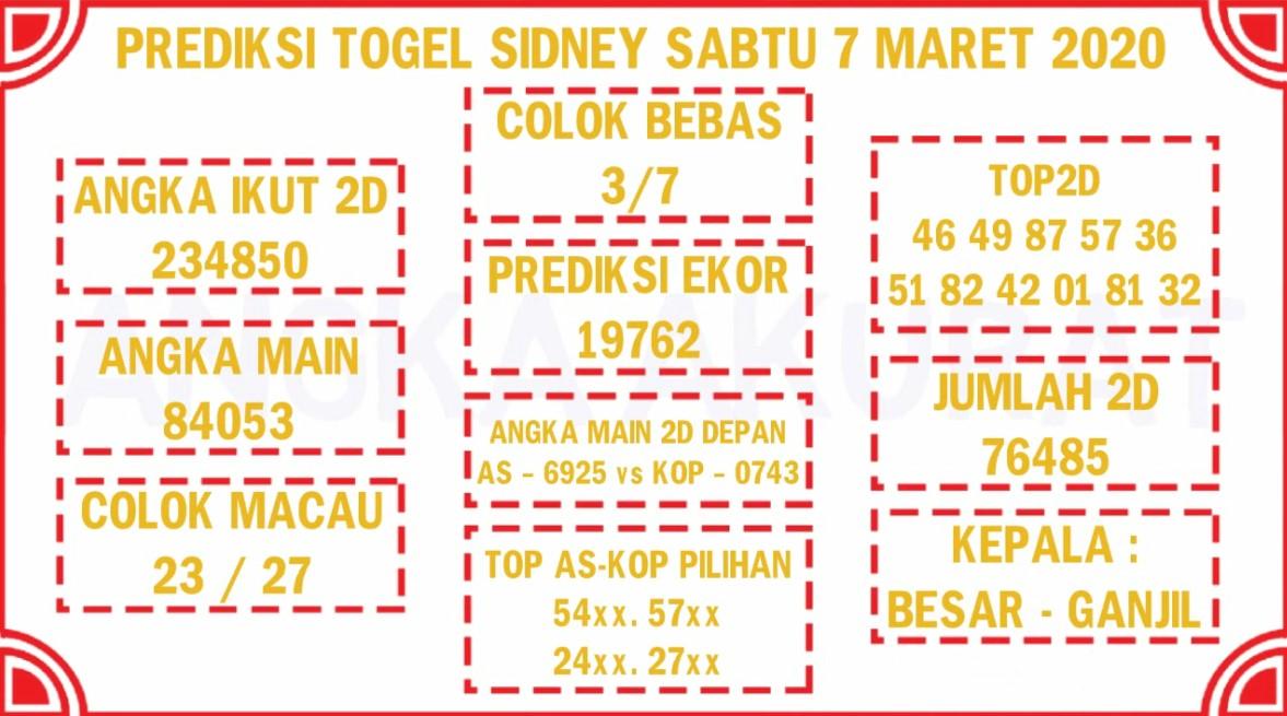 Prediksi Togel Sidney Sabtu 07 Maret 2020 - Prediksi Togel JP
