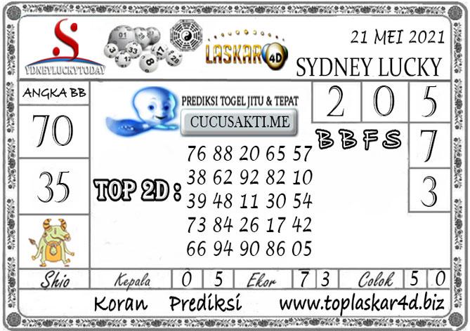 Prediksi Togel Sydney Lucky Today LASKAR4D 21 MEI 2021