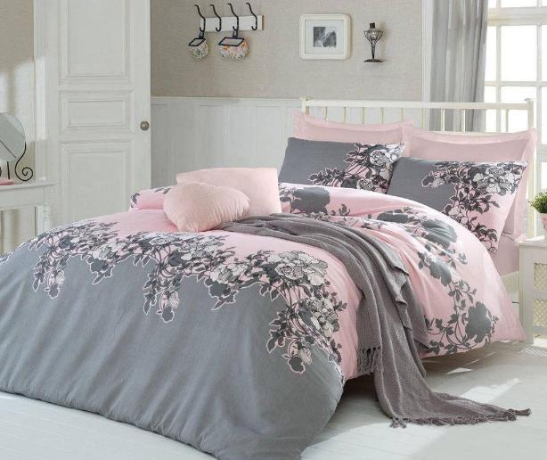 Lenjerie de pat cu imprimeu floral Double Rodez Powder 200x220
