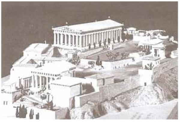 Maquete da acrópole de Atenas no período clássico