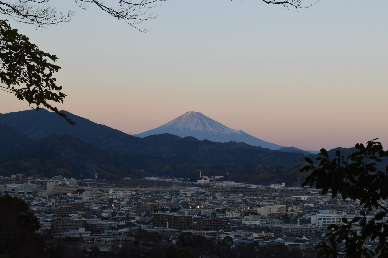 Mount Fuji as seen from the mountain behind Sengen Jinja, shizuoka city