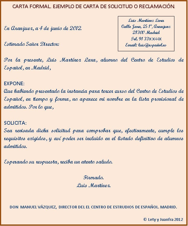 Ejemplo De Una Carta Formal En Espanol