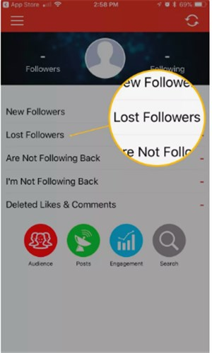 followers tracker pro - Lost Followers tab