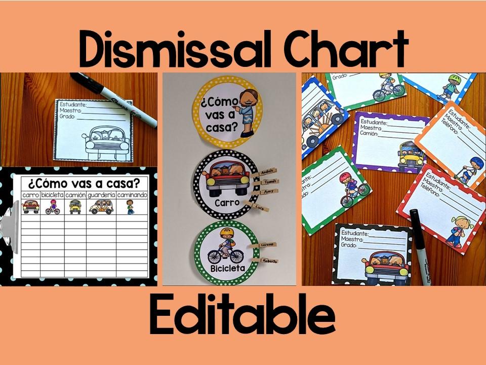 Dismissal Chart in Spanish I Cómo vamos a casa I Editable