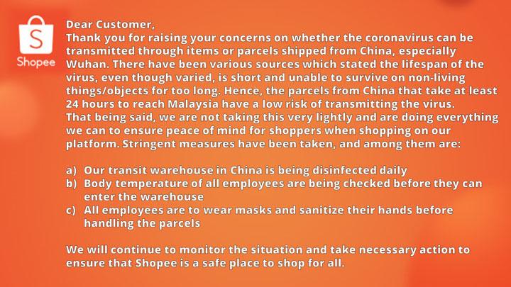 Shopee Jamin Barang China Selamat Coronavirus
