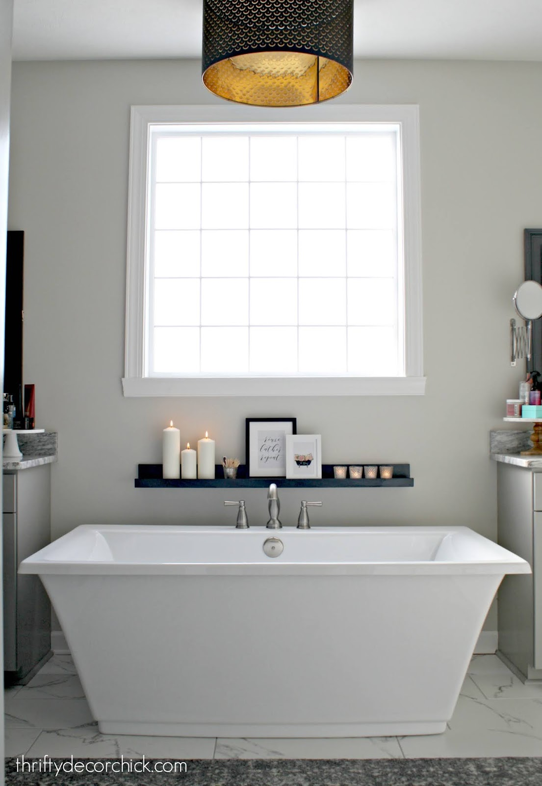 wood spa ledge by tub