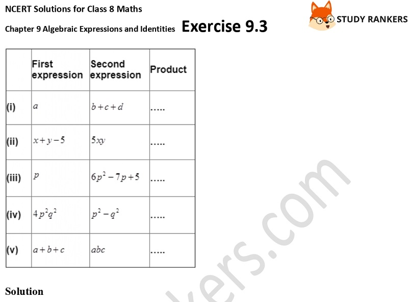 NCERT Solutions for Class 8 Maths Ch 9 Algebraic Expressions and Identities Exercise 9.3 2