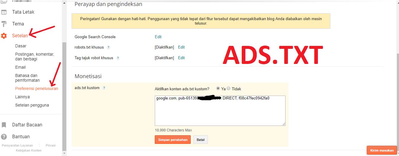 Cara aktifkan ads.txt blogger