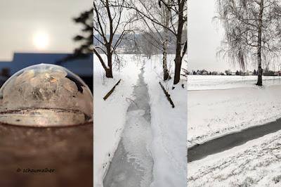 gefrorene Seifenblasen, Winter auf den Elbwiesen und Blutschnee