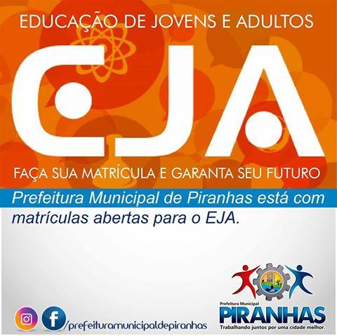 Prefeitura Municipal de Piranhas está com matriculas abertas para o EJA