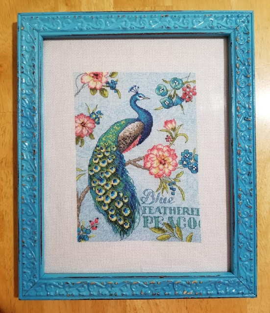 Completed Blue Peacock Cross Stitch
