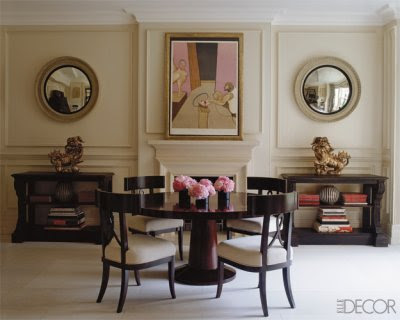 two convex mirror in symmetrical dining room