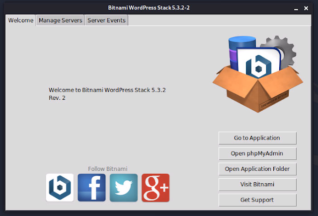 Bitnami LInux WordPress Stack 5.3.2-2 Welcome画面